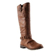 ELEGANT DILLIAN-7 Women's round toe tall riding boots on traction outsole with plain PU upper and a V opening on the top