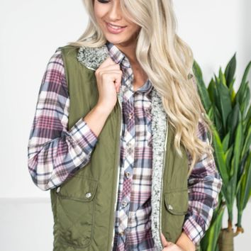 Sleek Quilted Bomber Vest | Olive
