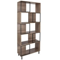 "Paterson Collection 29.75"" x 72.25"" Rustic Wood Grain Finish Bookshelf and Storage Cube"