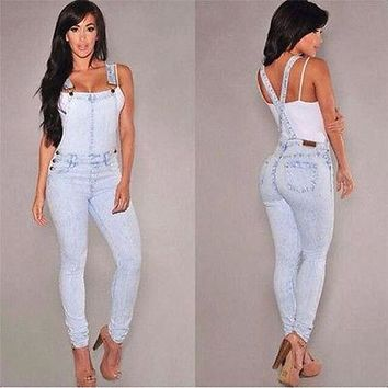 Women Girls Washed Jeans Denim Casual Hole Loose Jumpsuit Romper Overall Pants