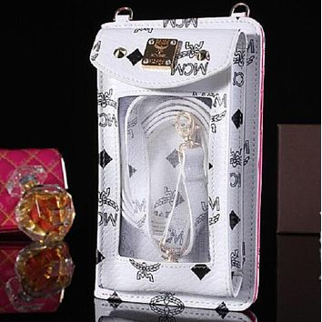 MCM Fashion Print Ladies Can Carry Mobile Phones Leather Zipper Purse Wallet White Iphone(Any model)