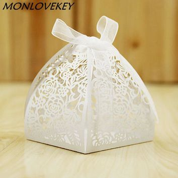 50pcs Lace Flower Design Laser Cutting Wedding Candy Box Wedding Gifts For Guests Wedding Favors And Gifts Party Decorations