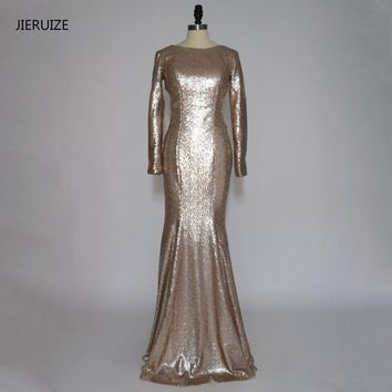 JIERUIZE Champagne Gold Sequin Backless Mermaid Long Prom Dresses Long Sleeves Low Back Evening Party Dresses Galajurken