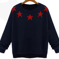 Black Star Pattern Pullover Knit Sweater