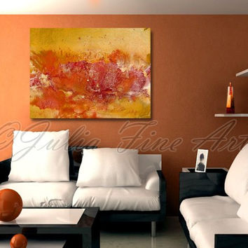 "Abstract Print 40""x30"" Yellow Orange Gold Red Modern Wall Decor Canvas Painting Magic Fantasy Warm Colors Large Contemporary"