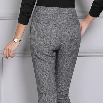 2017 Fashion New Winter Women Work Business Office Pants Straight Flares Slim OL Formal Trousers For Female 4XL Plus Size Black