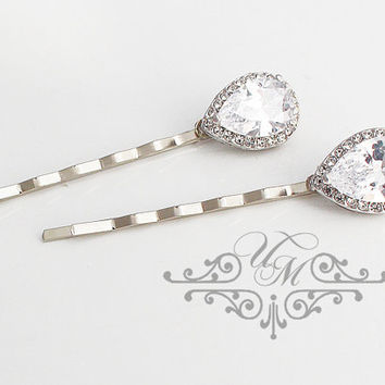 Wedding hair accessories Wedding Headpiece Wedding Hair pins AAA Zirconia teardrop hair pins Rhinestone hair pins Bridal hair pins - CARI