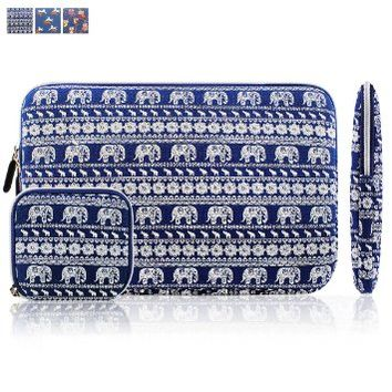 Kamor 13 13.3 inch Apple MacBook Air MacBook Pro Canvas Fabric Laptop Sleeve with Macbook Charger Case Bohemian Style Animal World (Elephant Blue) Protective Carrying Sleeve Bag Case Cover Shell