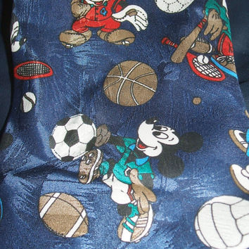 Mickey Unlimited Disney Football Soccer Tennis Baseball Volleyball Tennis Ball Men Sports Mickey Mouse 64 Inch Neck Tie Made in Italy