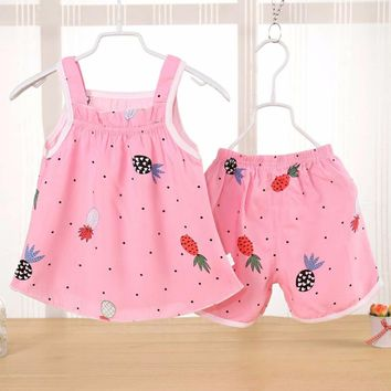 Siyuebebe Baby Girl Summer Clothes Sets 2PCS Cotton Kids Baby Girl Dresses Newborn Infant Baby Sports Fruits Printed Tracksuits