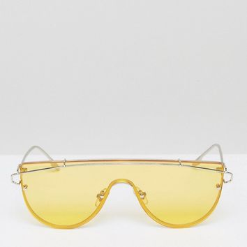 Jeepers Peeprs Yellow Tinted Lens Visor Sunglasses at asos.com