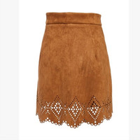 Cutout Suede Mini Skirt with Lace