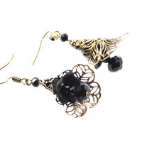 Black crystal drop filigree earring