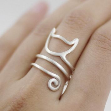 925 Sterling Silver Kitty Cat Spiral Ring