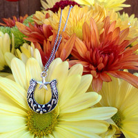 Silver Country Horse Shoe Charm Necklace with Texas Star Detail