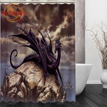 dragon Shower Curtain Eco-friendly Modern Fabric polyester Custom Home Decor Curtains for Kids