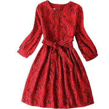 Girls dress Autumn/winter new girl party dress Kids Lace princess dress Teen girls clothing dress of girls size 13-20Y