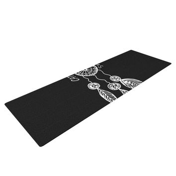 "Vasare Nar ""Catch Your Dreams Black"" White Typography Yoga Mat"