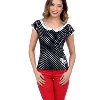Black & White Dotted Lace Embroidered Carousel Classy Top