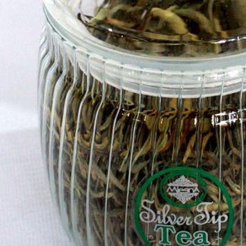 Organic premium Ceylon silver tea in glass pot  50 gr. сompiled by hand from Sri lanka.