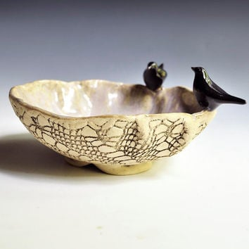 ceramic bowl art sculptural vessel  textured lace by OneClayBead