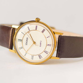 Vintage quartz watch Sekonda, gold shade unisex watch minimalist, slim quartz watch, boyfriend's wristwatch gift, genuine leather strap new