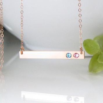 Personalized Rose Gold Birthstone Bar Necklace