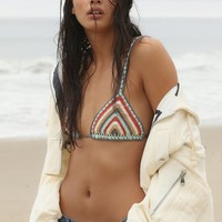 Free People Rainbow Stripe Triangle Bikini Top