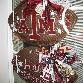 25% OFF SALE Burlap Football Door Hanger House Divided Football Football Door Hanger Collegiate Tailgating Hand painted Door Hanger Football