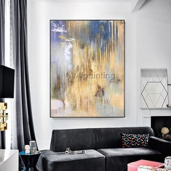 Abstract painting acrylic painting on canvas original huge size blue and yellow Painting Wall Art Pictures for living room cuadros abstract