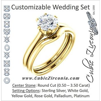 CZ Wedding Set, featuring The Julia engagement ring (Customizable Thin-Band Round Cut Solitaire)