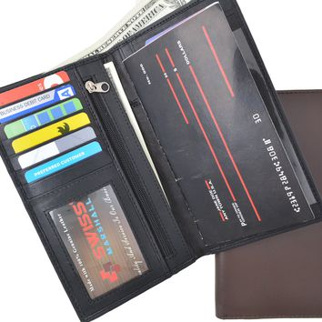 Swiss Marshal RFID Blocking Soft Genuine Leather Slim Checkbook Holder Organizer ID Credit Card Money Holder Wallet SM-RFID-P853