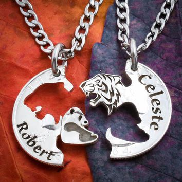 Tiger and Panda Necklaces with Custom Names Engraved
