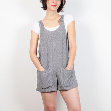 Vintage 90s Romper Black White Gingham Plaid Overall Shorts 1990s Shortalls Dungarees Jumper Romper Soft Grunge Overalls Petite XS S Small M