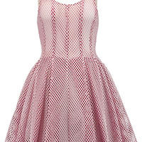 Maje Laser-cut neoprene and tulle mini dress – 40% at THE OUTNET.COM