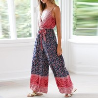 Beach Sexy Women Jumpsuits Rompers Split Bow Wide Leg Long Rompers Female Jumpsuits