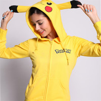 Women's Pikachua Pokemon Zip Up Hoodie