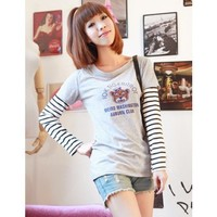 Women Autumn Long Sleeve Scoop Stripe Fake Two-pieces Grey Cotton T-shirt One Size @WH0383g  $8.99 only in eFexcity.com.