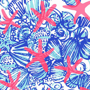 "18"" x 18"" or 1 YARD Lilly Pulitzer Fabric  She She Shells  (Large Scale Print)"