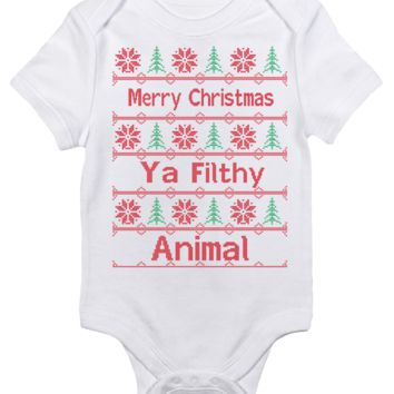 Baby Bodysuit - Merry Christmas Ya Filthy Animal