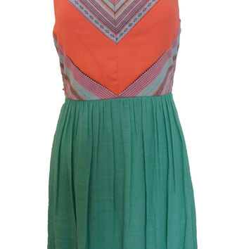 Jodi Kristopher Orange / Green Embroidered Strapless Dress - Size 9