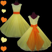 Dress Vintage 50s YELLOW Chiffon Orange FULL Skirt Prom Party Dress XS S Bridal Pinup