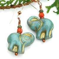 RESERVED. Elephant Earrings, Turquoise Green Gold Handmade Jewelry
