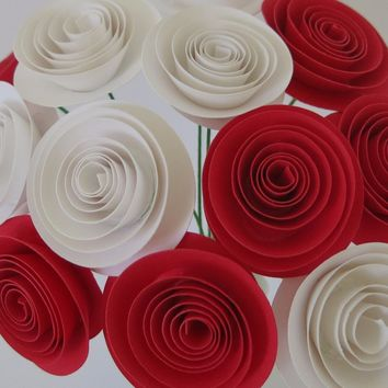 "bouquet of 12 Red & white paper roses for a vase 1.5"" Spiral Paper flower blooms on stems table Centerpiece Rolled paper one dozen"