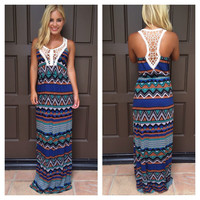 African Safari Crochet Maxi Dress