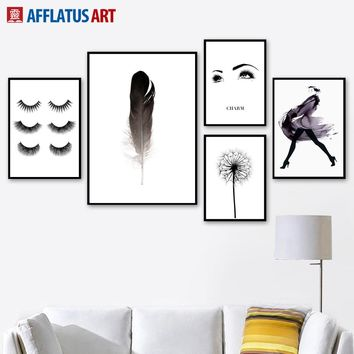 Dandelion Feather Charm Girl Figure Wall Art Canvas Painting Nordic Posters And Prints Wall Pictures For Living Room Wall Decor