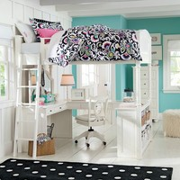 Chelsea Vanity Loft Bed, Full, White