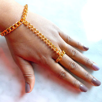Chunky Hand Chain, Golden Ring Chain Hand Adornment, Attached Ring and Bracelet , Ring to Wrist Accessory, Edgy Statement Piece
