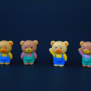 Sanrio Bears 1980s Vintage  PVC Toy Miniatures Baby Shower Decor Cake Topper