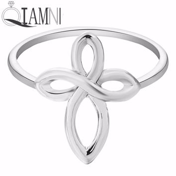 Silver Infinity Cross Fashion Ring For Women